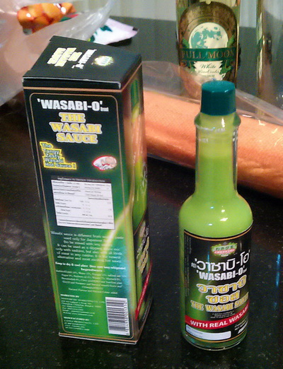 Wasabi-O, possible intentional copy of a trademark-infringing Japanese product, from Thailand (Tabasco --> Wasasco --> Wasabi-O)  Do unto others, bitches!