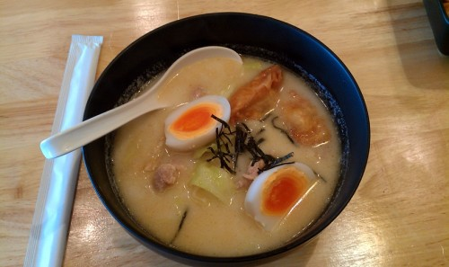 """Little Ramen"" - actually kinda full-sized and with decent broth and good toppings, but the noodles were way overcooked. 5/10."